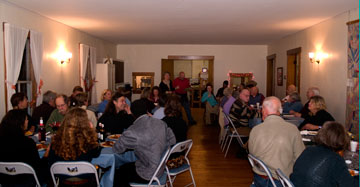 A potluck supper in the dining room